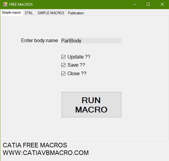 Simple free CATIA macro