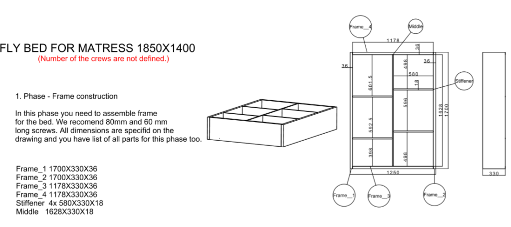 Floating bed frame drawing
