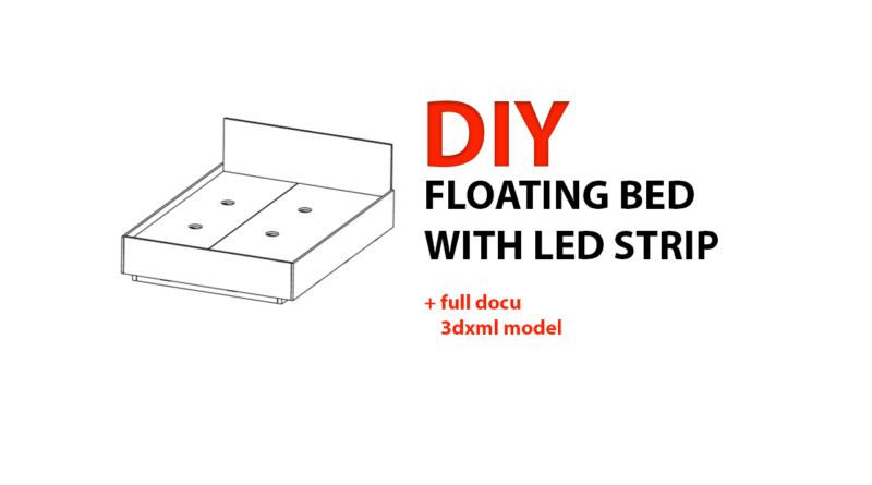 DIY Floating bed with led strip